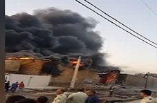 آتش سوزی مهیب تانکر حامل روغن موتور در منطقه سه راه خرمشهر