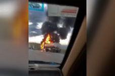 آتشسوزی تریلی حامل تانکر در اتوبان زنجان-تبریز