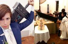 بریدن کیک عروسی با ماکت شمشیر غول پیکر!