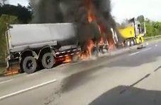 زنده ماندن یک راننده پس از جزغاله شدن در شعلههای آتش