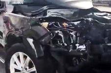اقدام جنون آمیز راننده شاسی بلند وسط بزرگراه که منجر به تصادفی وحشتناک شد