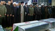 طلب شهادت رهبر انقلاب، هنگام خواندن نماز بر پیکر حاج قاسم و همرزمانش