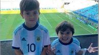 شیطنت فرزند لیونل مسی در دیدار آرژانتین و ونزوئلا
