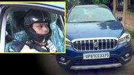 دلیل عجیب راننده خودرو برای استفاده از کلاه ایمنی!