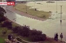 لحظه ورود آب کارون به داخل شهر اهواز