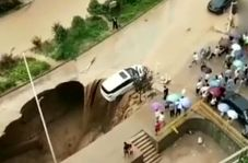 بیرون کشیدن خودرو و راننده لحظاتی پیش از سقوط