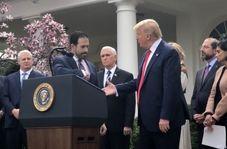 فیلم| خودداری یکی از سخنرانان کاخ سفید از دست دادن با ترامپ