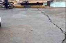 اسکله لافت بر اثر زلزله ترک خورد
