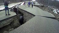 تخریب یک جاده در آلاسکا پس از وقوع زمین لرزه 7 ریشتری