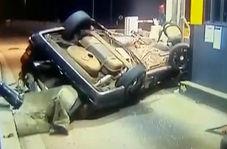 جان سالم به در بردن یک راننده پس از تصادف عجیب