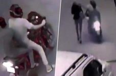 لحظه سرقت تلفن همراه خبرنگار زن در خیابان
