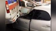 حمله راننده سواری به خودروی آمبولانس با حداکثر سرعت! + فیلم
