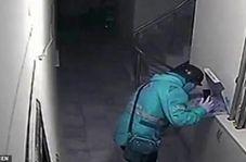 اقدام غیراخلاقی راننده پیک در درب خانه مشتری!
