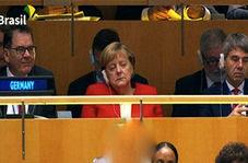 چرت زدن آنگلا مرکل هنگام سخنرانی رهبران جهان در سازمان ملل