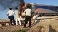 فیلم حادثه برخورد قطار با خودروی سواری در محور جنوب کشور