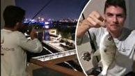 ماهیگیری از روی بالکن آپارتمان در ایام قرنطینه!