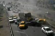 تصادف شدید در اتوبان شهید کسایی تبریز از نگاه دوربین کنترل ترافیک