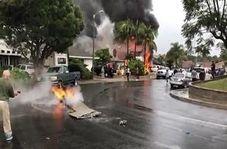 آتش گرفتن منازل مسکونی پس از سقوط هواپیما