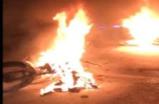 موتورسیکلتها در آتش سوختند