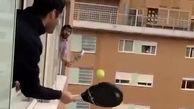 فیلم/ بازی تنیس در شرایط ویژه قرنطینه