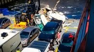 سقوط جالب خودرو روی عرشه کشتی