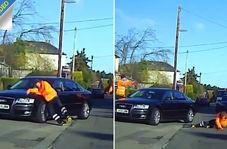تمارض عجیب رفتگر برای گرفتن غرامت از راننده !