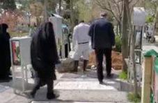 مراسم تدفین همسر حاج آقا لولاچیان مادر عروس رهبرانقلاب و مادر شهید