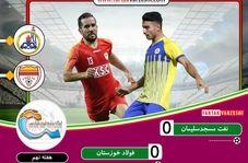 خلاصه بازی نفت مسجدسلیمان 0 - 0 فولاد خوزستان