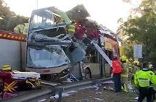 برخورد مرگبار اتوبوس دو طبقه با درخت با ۴۵ کشته و زخمی+ فیلم