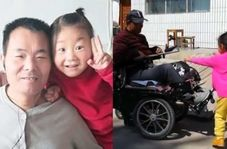فداکاری ستودنی دختر خردسال در مراقبت از پدر معلولش!