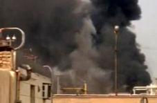 سیاه شدن آسمان آبادان پس از آتش سوزی در پالایشگاه
