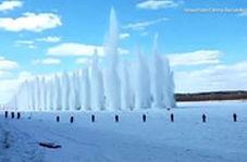 انفجار رودخانه یخزده برای جلوگیری از سیل!