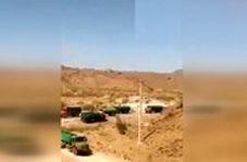 قطار کامیونهای حامل سوخت قاچاق در سیستان و بلوچستان!