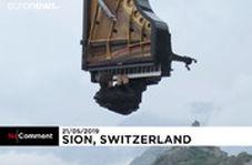 پیانو نوازی معلق بین آسمان و زمین در سوئیس
